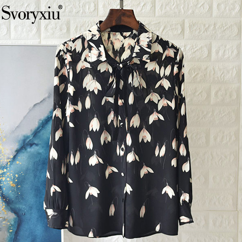 Svoryxiu Designer 100% soie Magnolia fleur imprimé noir Blouse chemise femmes élégant bureau dame à manches longues hauts amples chemises