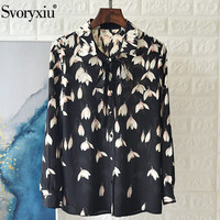 Svoryxiu Designer Silk Magnolia Flower Print Black Blouse Shirt Women's Elegant Office Lady Long Sleeve Loose Tops Shirts