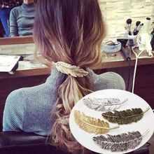 Модная женская заколка для волос с листьями и перьями Пряжка