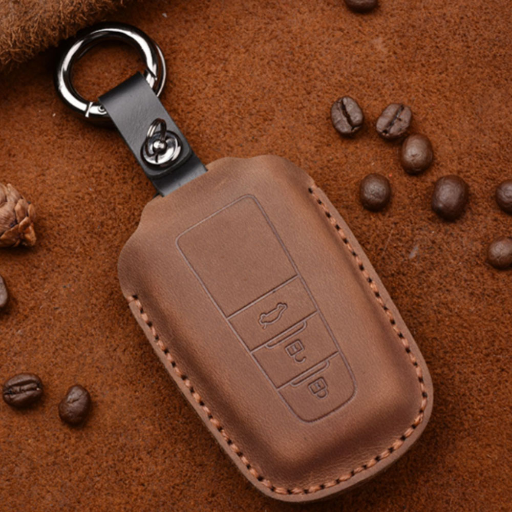 3 Buttons Leather Car Key Shell Wallet keyFob Case for <font><b>Toyota</b></font> CHR C-HR Camry Prius <font><b>Prado</b></font> <font><b>2016</b></font> - 2018 key Pouch Car <font><b>Accessories</b></font> image
