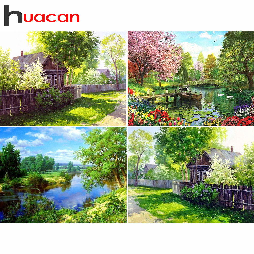 Huacan Diamond Painting Scenery Mosaic-House Rhinestones-Pictures Cross-Stitch Embroidery-Sale