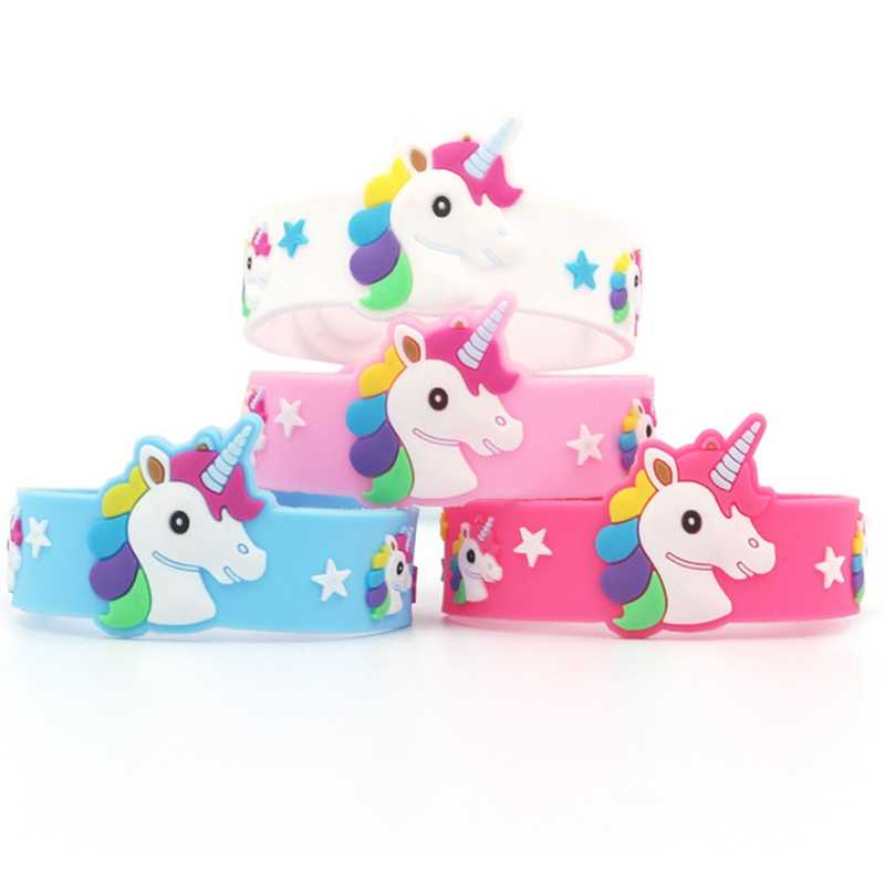 Moda çocuk çocuk yıldız renkli Unicorn bileklik esnek şal tokat bilezik hayvan Enfant bileklik çocuk bilezik