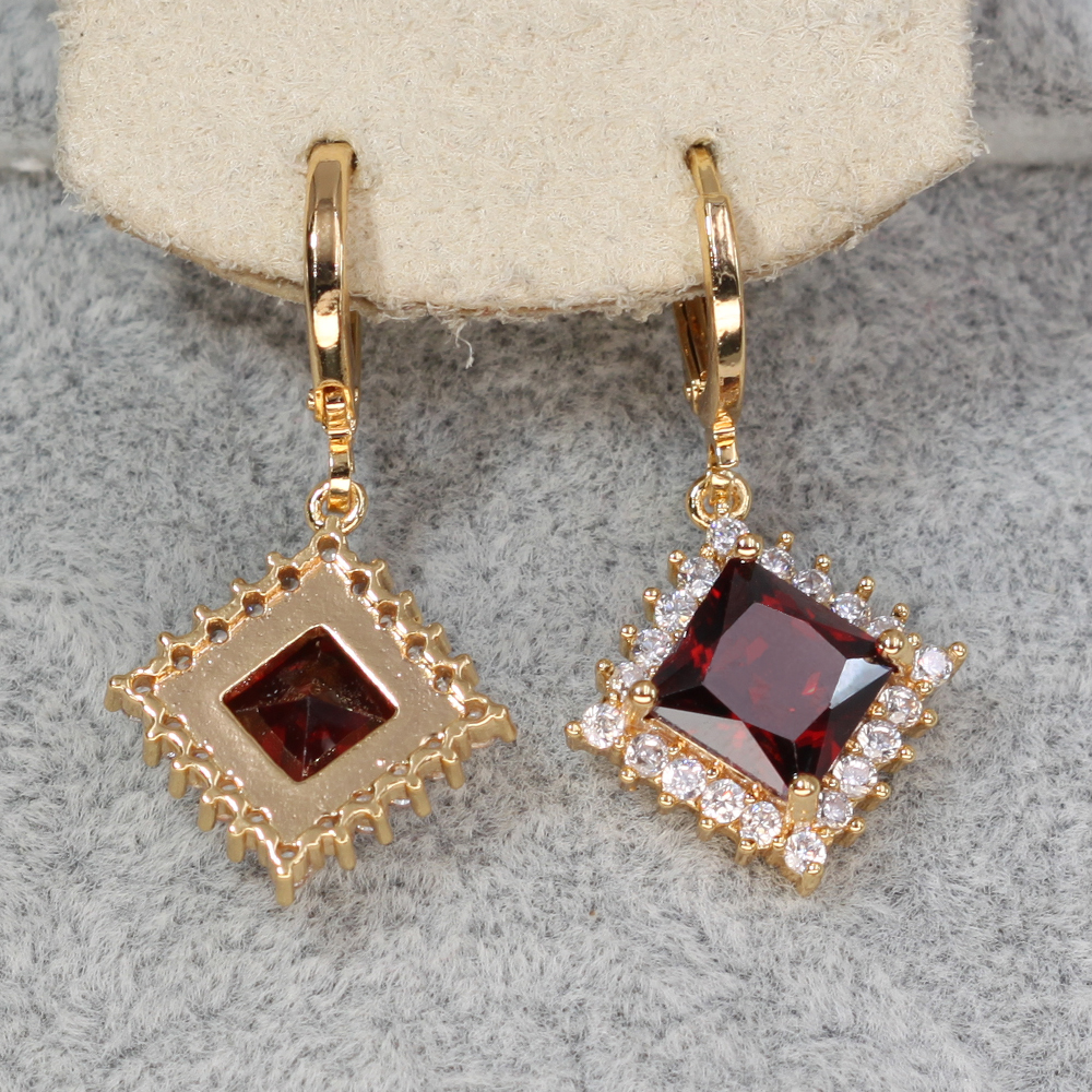 H8c18d4d545b34ed9bf1de1fe4bfe18bef - Trendy Vintage Drop Earrings For Women Gold Filled  Red Green Pink Lavender Zircon Earrings Gold  Earring Wedding  Jewelry