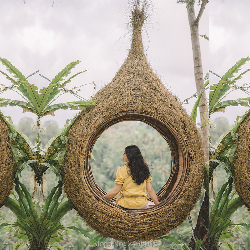 Hanging Type Net Red Bird's Nest Basket Swing Wicker Adult With Cushion Indoor, Balcony ,Garden ,Outdoor ,Hotel,Homestay Decor