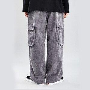 Мужские брюки в японском стиле, уличная одежда в стиле хип-хоп, большие размеры, мужские брюки с эластичной резинкой на талии, винтажные вель...
