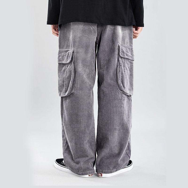 Male Japan Streetwear Hip Hop Oversize Pants Men Elastic Waist Vintage Corduroy Casual Loose Straight Cargo Pants Long Trousers