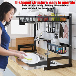 Organizer Dish-Rack Storage-Holders Utensils Kitchen-Shelf Over-Sink Stainless-Steel