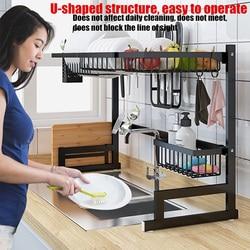 65/85cm estante de almacenaje para cocina soportes sobre el fregadero de acero inoxidable estante para platos organizador utensilios suministros de almacenamiento en negro