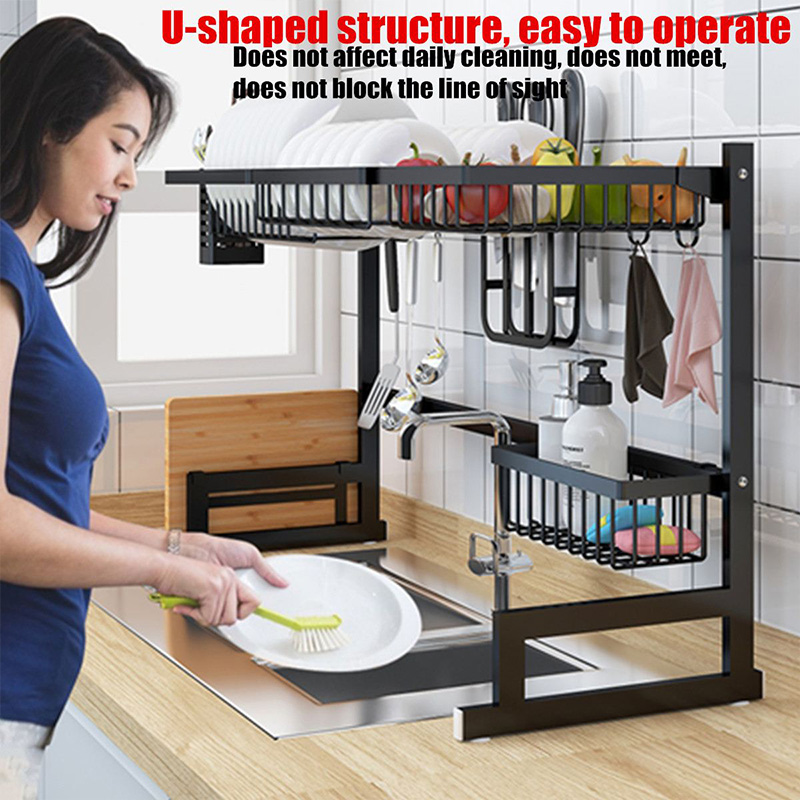 Kitchen Shelf Storage Holders Over Sink Stainless Steel  Bowl Dish Rack Organizer Utensils Storage Drying Racks