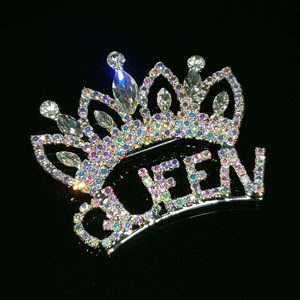 Роскошная брошь в форме короны ручной работы с кристаллами и надписью «QUEEN», Blingbling Aurora Rhinestone, ювелирные изделия и аксессуары, оптовая продаж...
