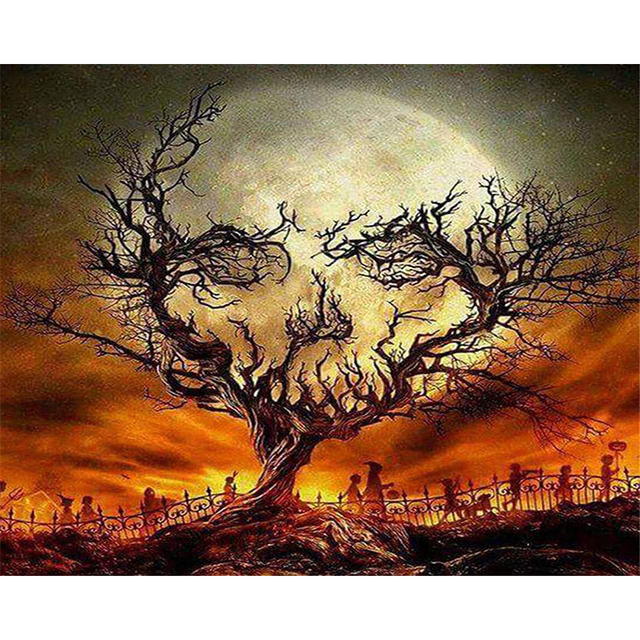 Paint By Numbers Kit Gothic Horror Night Graveyard Tree Skull Moon Halloween