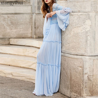 Chic Fashion Women Gentle Elegant Blue Lace Dress Autumn Winter Long Sleeve Maxi Beach Dress High Waist Flare Sleeve Dress