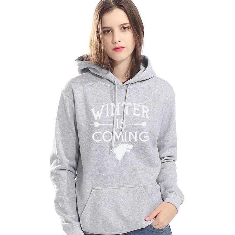 Women Casual Fleece Sweatshirts New Autumn Hoodies 2019 Game Of Thrones Winter