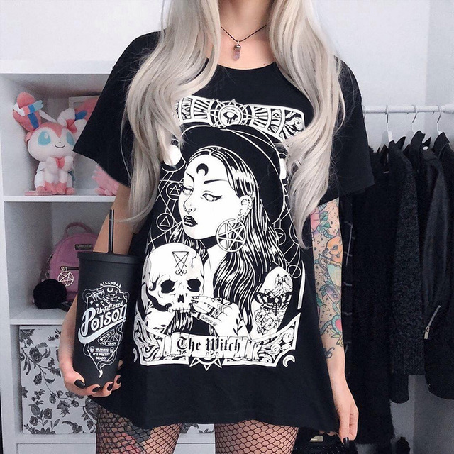 H8c192c6ca0b34086a33633db74f8ea69u - Gothic women T-shirt Loose black rock Harajuku cool light print top Halloween party long shirts summer female pok clothes