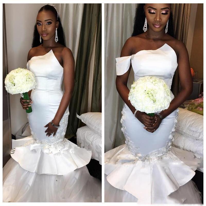 White Appliques Scrytal Mermaid Wedding Dresses Simple Sleevless Backless Satin Bridal Gown Vestido De Noiva