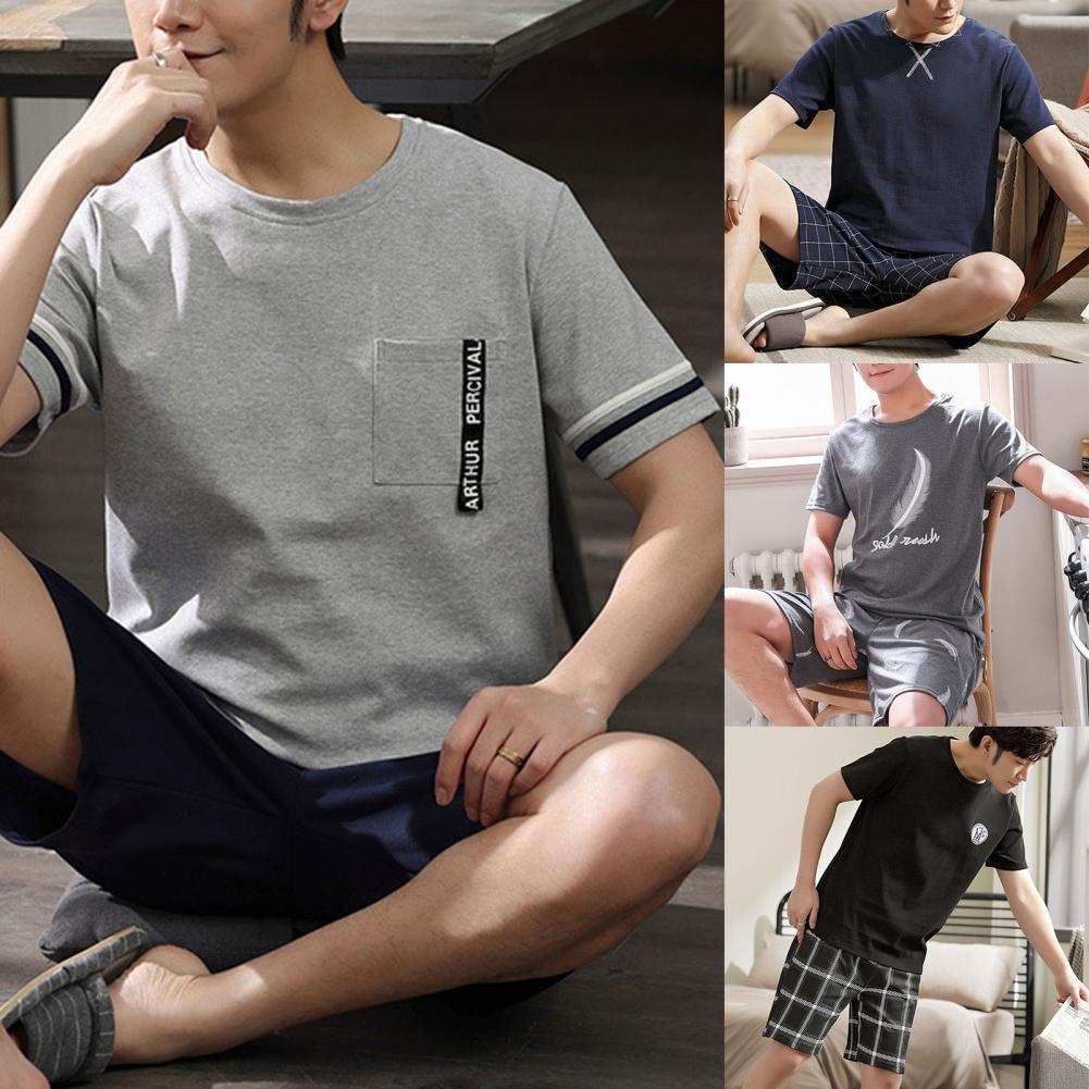 Men Sleepwear Breathable O Neck Cotton Blended Loose Summer Pajamas for Home