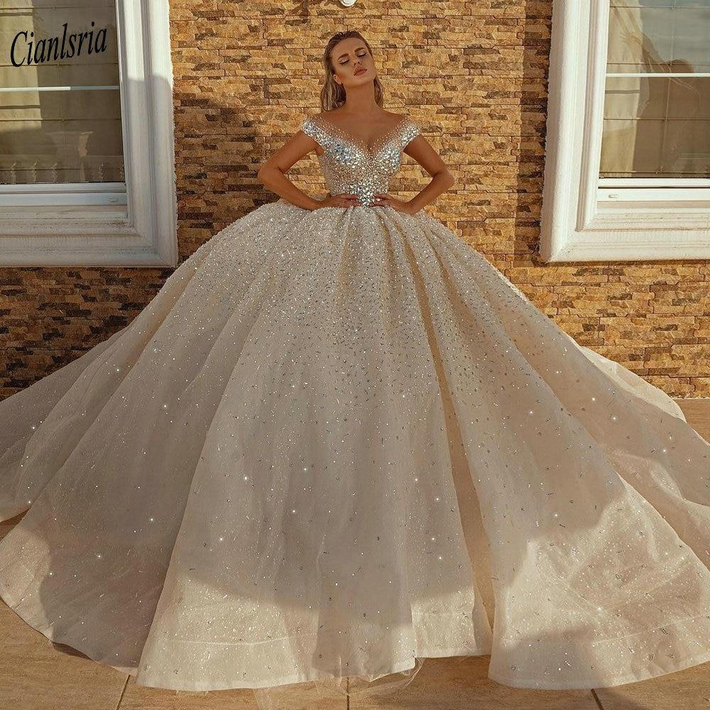 20 New Crystal Diamond Wedding Dresses Dubai Arabic Style Bridal ...