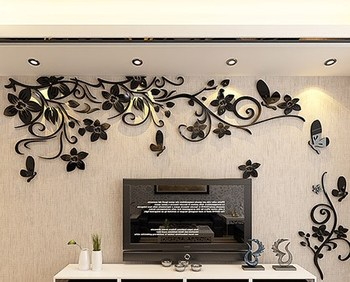 DIY Removable Vinyl Flower Wall Sticker Modern Decals For Wall Decor TV Background Decoration Mural Wallpaper For Living Room 11
