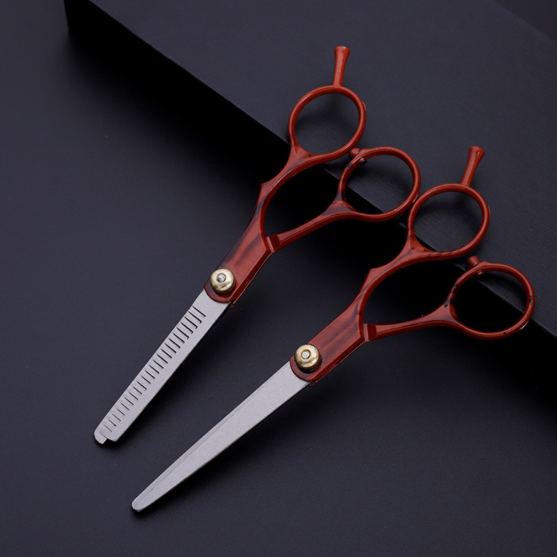 Professional 6.0 Inch  Red Hair Scissors Cutting Barber Tools Thinning Scissor Shears Salon Hairdressing Scissors