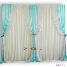 10ftX20ft Luxury sequin edge wedding backdrop white curtain with Swags stage party birthday wall decoratons props