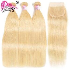 Image 5 - Schönheit Für Immer Blonde #613 Brasilianische Gerade Menschliches Haar Verschluss 4*4 Freies Teil Remy menschliches haar Schweizer Spitze verschluss