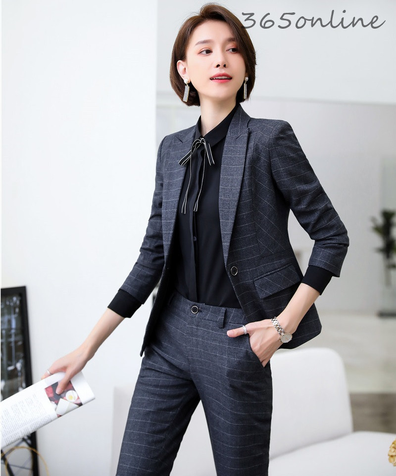 High Quality Fabric Elegant Plaid Forma Women Business Suits OL Styles Professional Ladies Office Work Wear Blazers Pantsuits
