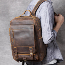 Backpack Men Rucksack Laptop Travel-Bag Crazy-Horse Vintage Durable Real-Leather Brown