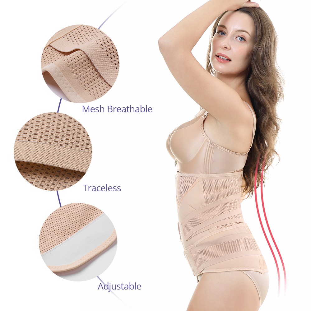 3in1 Belly/Abdomen/Pelvis Postpartum Belt Body Recovery Shapewear Belly Slim Waist Cinchers Breathable Waist Trainer Corset