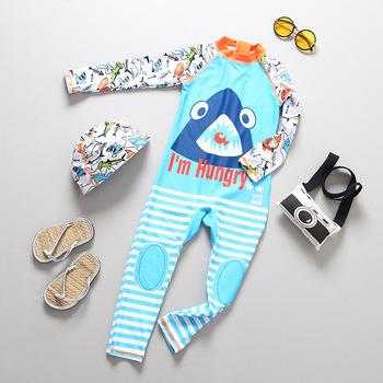 Strój kąpielowy dla chłopca ochrona UV strój kąpielowy dziecko z długim rękawem dziecięcy kostium kąpielowy maluch Baby Boy stroje kąpielowe dla dzieci One Piece tanie i dobre opinie WYOTURN Pasuje prawda na wymiar weź swój normalny rozmiar Chłopcy Stretch Spandex Cartoon Oddychające O-neck wyfs12