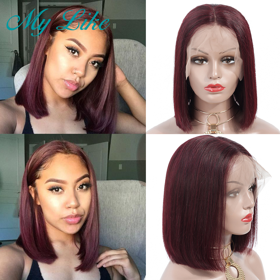 My Like 99j Short Bob Wig Brazilian Straight Remy Human Hair Wigs Pre Plucked Burgundy Bob Lace Front Wigs 150% Density