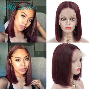 Short Bob Wigs Human-Hair Lace-Front Burgundy Straight My-Like-99j 150%Density Pre-Plucked
