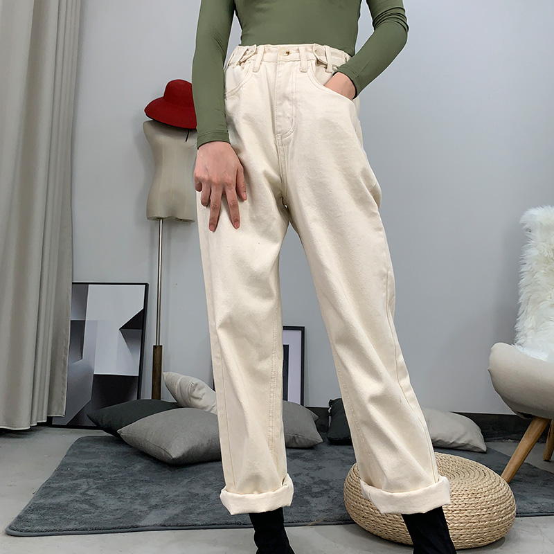 Cotton Jeans For Women High Waist Beige Jeans Spring White Women Jeans Denim Loose Straight Pants Trousers High Waisted Jeans