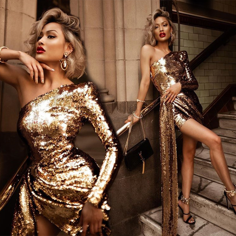 BacklakeGirls Sexy One Shoulder Long Sleeve Irregular Cocktail Dress With Sashes Bling Gold Women Party Dress Semi Formal Dress