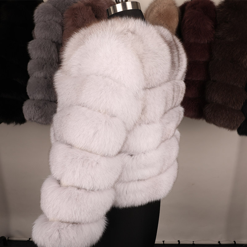maomaokong 50CM Natural Real Fox Fur CoatWomen Winter natural fur Vest Jacket Fashion silm Outwear Real Fox Fur Vest Coat Fox 23