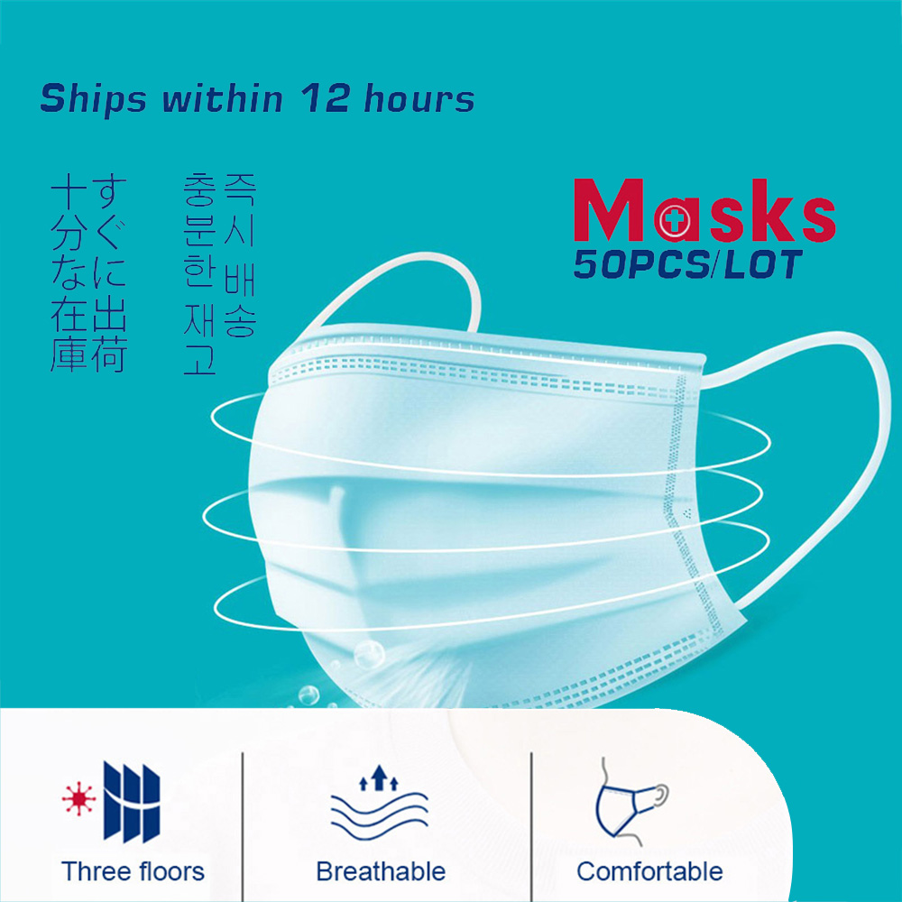 50 Pcs Face Mouth Mask Disposable Protect Anti Vilus Dustproof Earloop 3 Layers Filter Woven Mouth Masks 24 Hours Shipping
