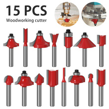 15PCS Router Bit Set Tungsten Carbide Tipped Router Bit Set Wood Milling Saw Cutter Woodworking Tools Kit for Home DIY