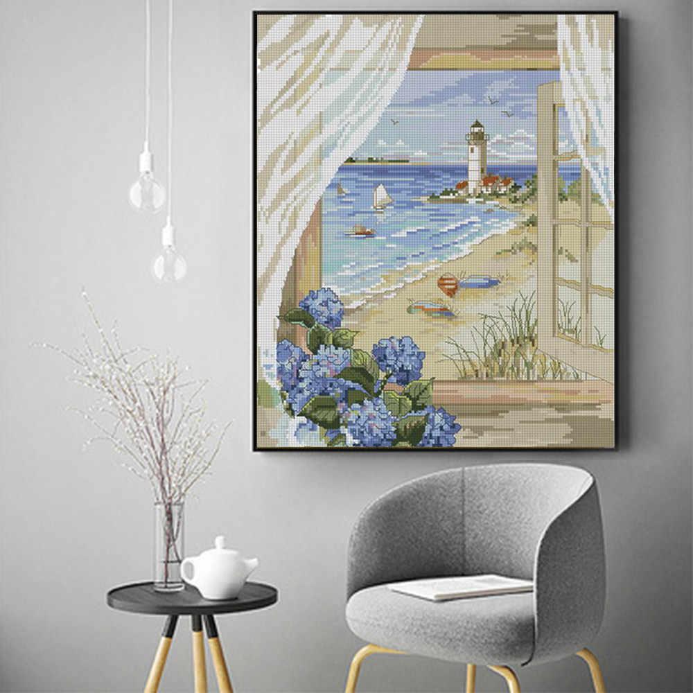 Extérieur de la fenêtre scénique diamant peinture sable plage phare rond complet forage bricolage mosaïque broderie 5D point de croix cadeaux