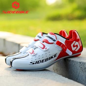 Sidebike calçado de ciclismo de estrada masculino, sapato de bicicleta de corrida automática com fecho para atletismo e ultraleve, preto 1