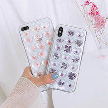 Gimfun 3D Pink Heart Phone Case for IPhone X Xsmax Xr 7 6s 8 Plus Candy Soft Silicone TPU Love Dried Flowers Case Cover Female(China)