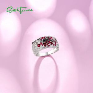 Image 4 - SANTUZZA Silver Jewelry Set for Women Shiny Pink Tree Earrings Ring Set 925 Sterling Silver Fashion Jewelry