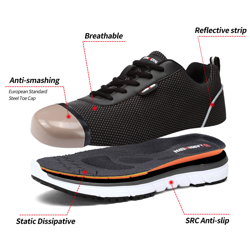 LARNMERN Work-Shoes Reflective-Sneaker SRC Lightweight Steel-Toe Comfortable Mens Non-Slip