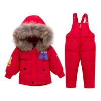 Christmas Infant Outfits Baby Boy Girl Winter Clothes Warm Fur Collar Down Jackets + Overalls Kids Bebes Down Suits Tracksuits