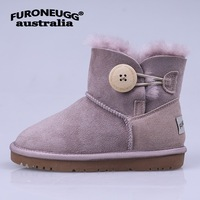 FURONEUGG Snow Boots for Kids Geniune Leather Fur Children Snow Boots sheep leather Winter Boots Shearling Winter boots boy shoe