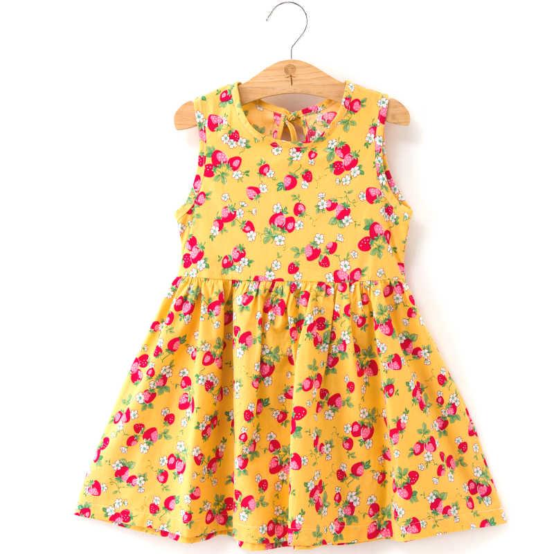 Trẻ Em Bé Gái Dễ Thương 2020 Cotton Không Tay In Hoa Cotton Và Vải Lanh Váy Đầm Hoa Bé Gái Xuân Đầm Mùa Hè Dành Cho bé Gái