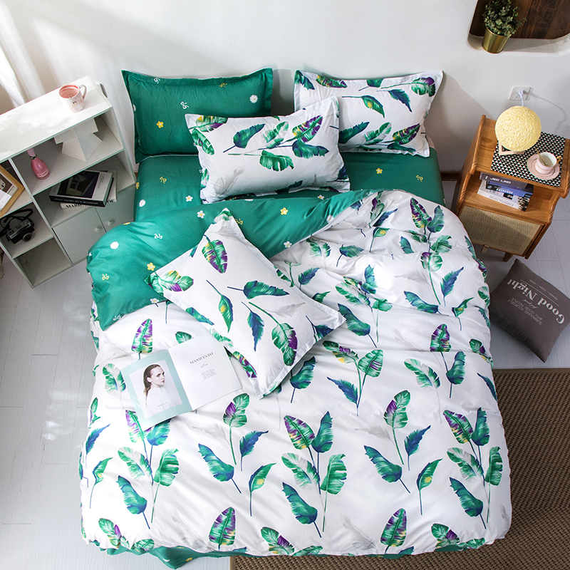 White Green Linen Bedding