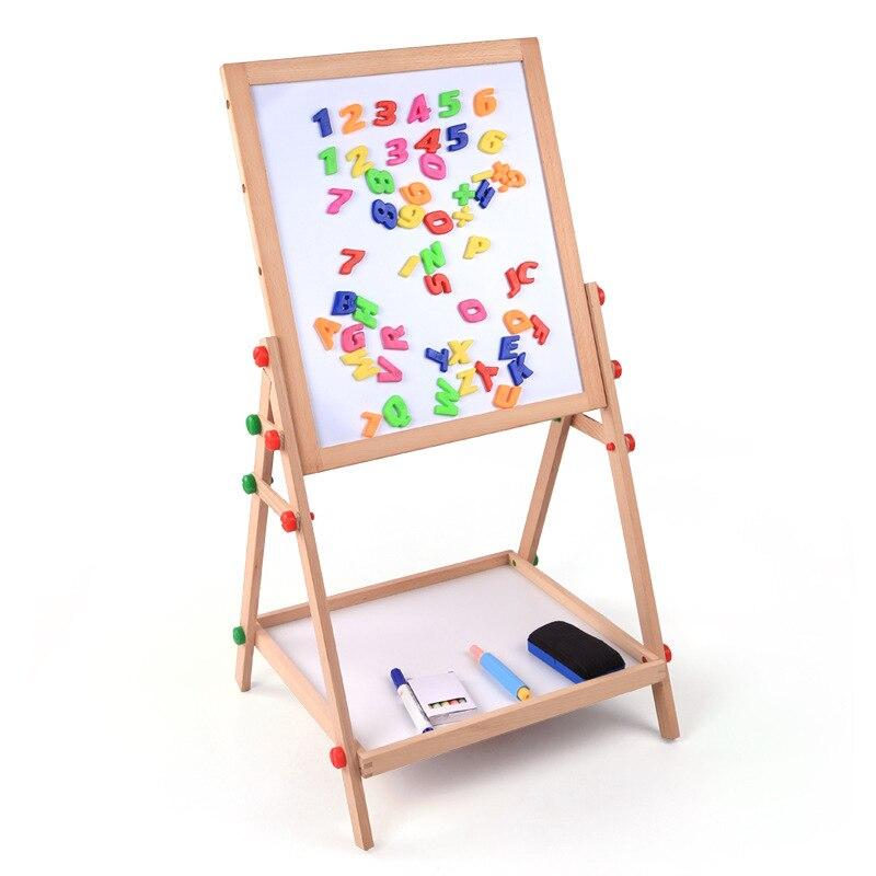 Logwood Children Blackboard Braced Wooden Double Sided Magnetic Drawing Board Wood Adjustable Writing Board Baby Toy