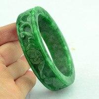 Natural Myanmar green jade bangle hand carved flower lotus jade bracelets jade bangles jewelry jadeite certificate jade jewelry