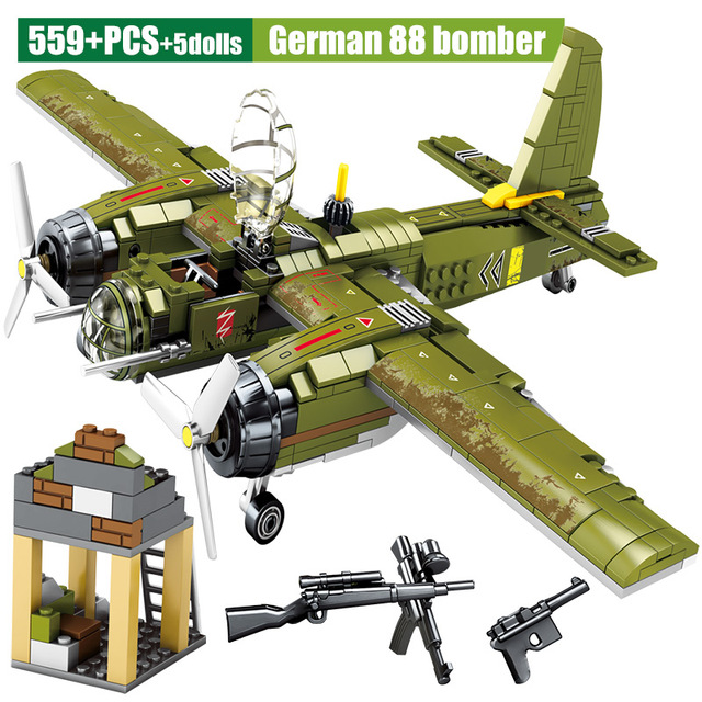 Military Fighter Airplane Model Building Blocks for  City WW2 Mortar Police DIY Helicopter Bricks Toys For Children