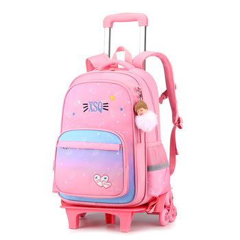 2021 Student School bag plecak na kółkach dziewczyna torba na kółkach plecak szkolny może wspinać się po schodach torba na kółkach plecak na kółkach dla dzieci tanie i dobre opinie INFEYLAY CN (pochodzenie) zipper 1 9kg nylon 43cm litera 0012 Dziewczyny 21cm 31cm plecaki do szkoły