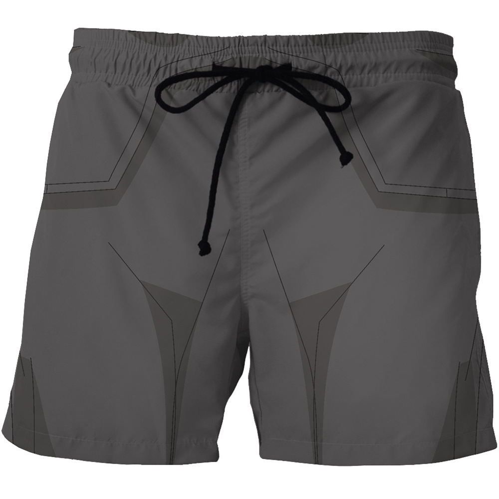 Digital Print Men's Quick - Dry Beach Shorts Cartoon Animation Print On Both Sides Pocket Casual Shorts